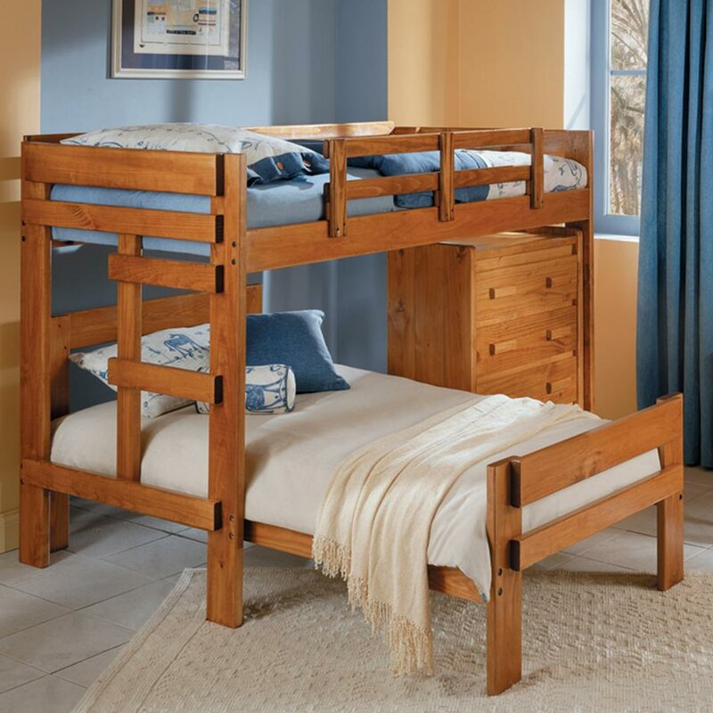 Twin Over L Shaped Bunk Bed With 4 Drawer Chest