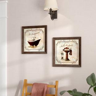 Clic Prints For Decorating Bathroom Salle De Bain And Le Baignoire Acrylic Painting Print Set Of 2