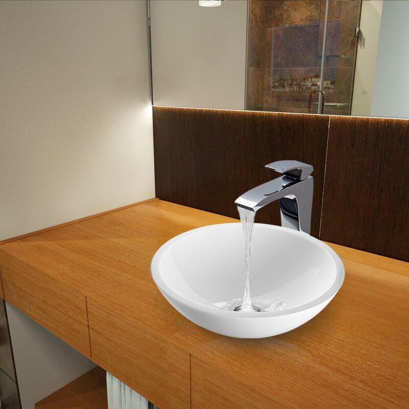 Flat Edged White Phoenix Gl Circular Vessel Bathroom Sink With Faucet