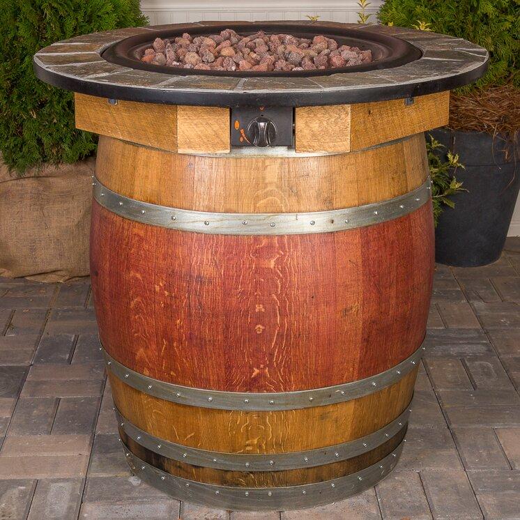 Wine Barrel Steel Propane Fire Pit Table - Napa East Collection Wine Barrel Steel Propane Fire Pit Table