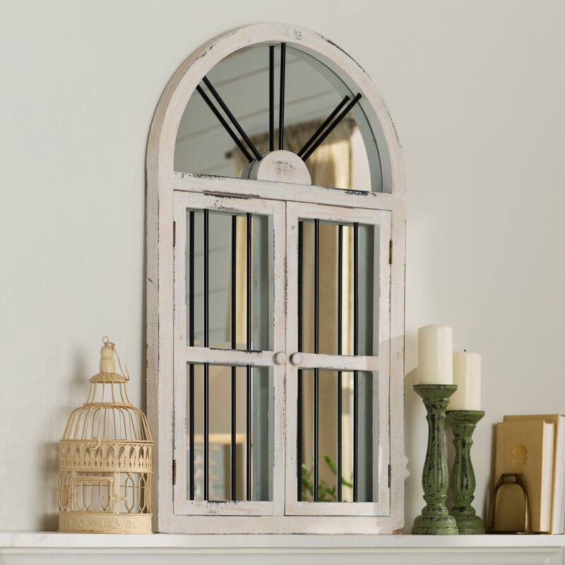 Faux Window Wood Wall Mirror & Laurel Foundry Modern Farmhouse Faux Window Wood Wall Mirror ...