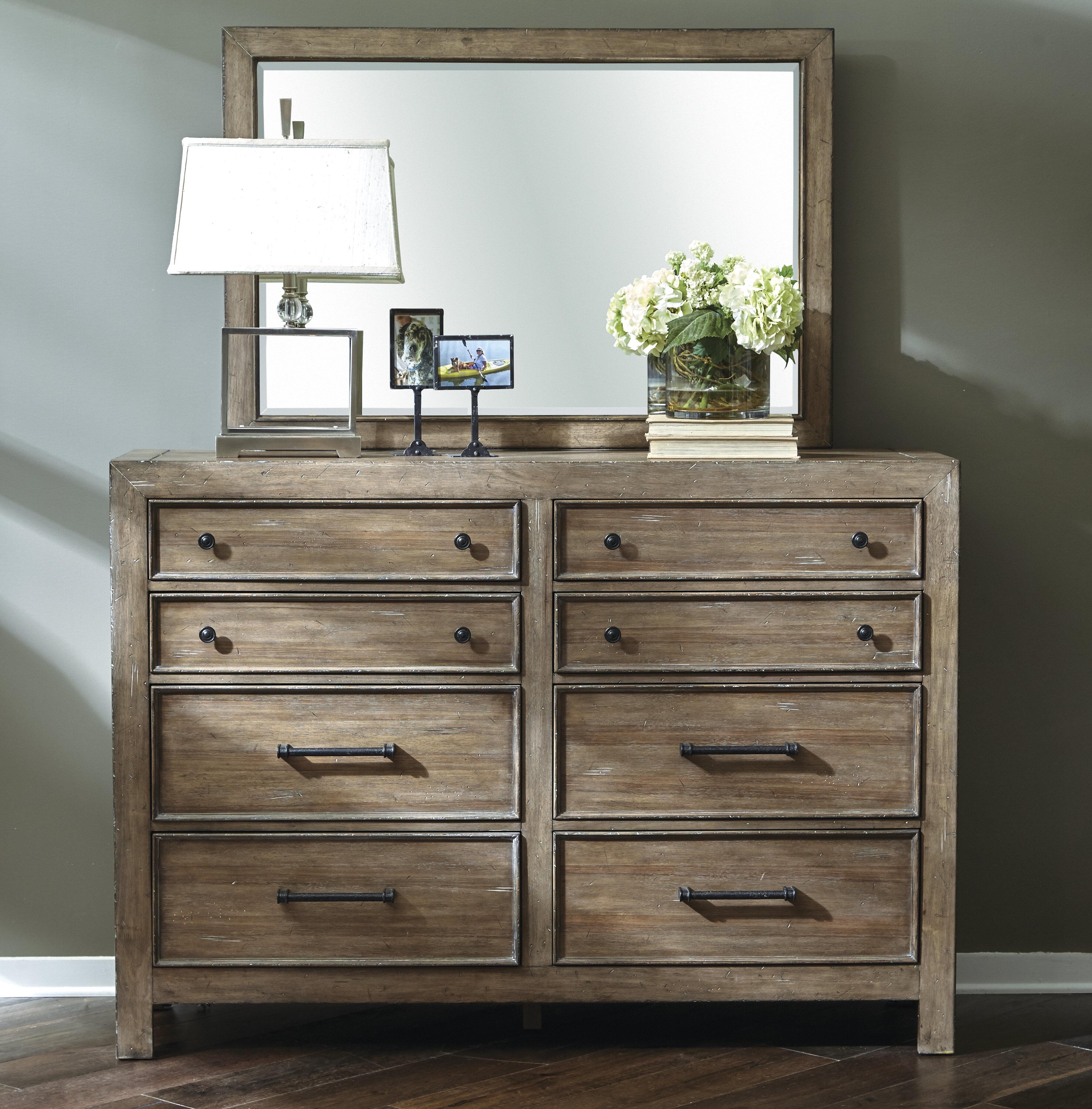 Gracie Oaks Chandelle 8 Drawer Double Dresser With Mirror Wayfair