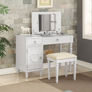 custom makeup vanity sets. Strathmore Flip up Vanity Set with Mirror Top Bedroom  Makeup Vanities You ll Love Wayfair