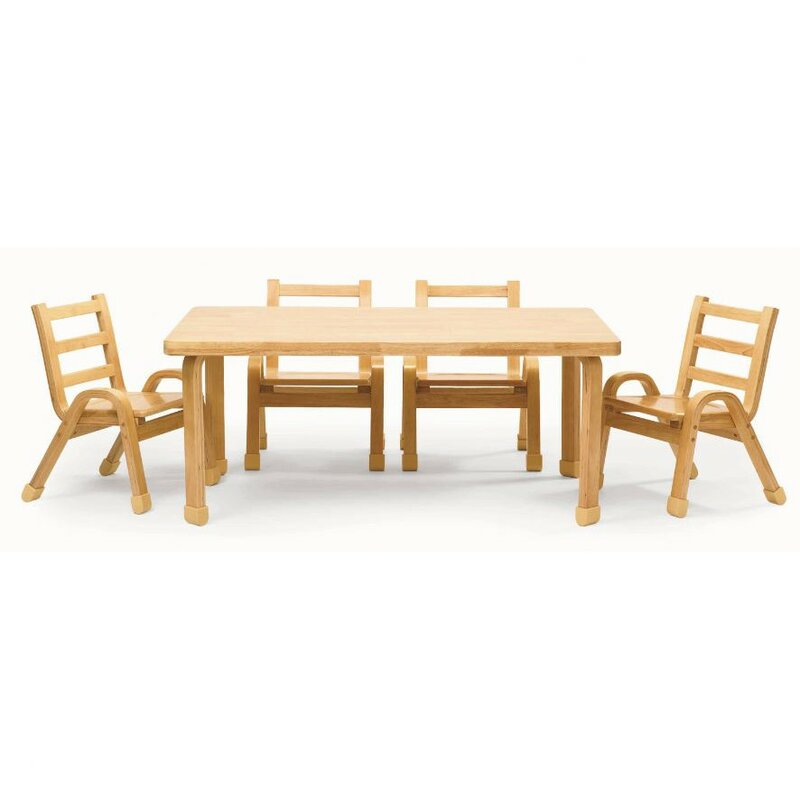 angeles naturalwood 12 rectangle toddler table and chair set