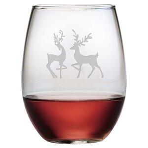 Reindeer 21 oz. Stemless Wine Glass (Set of 4)