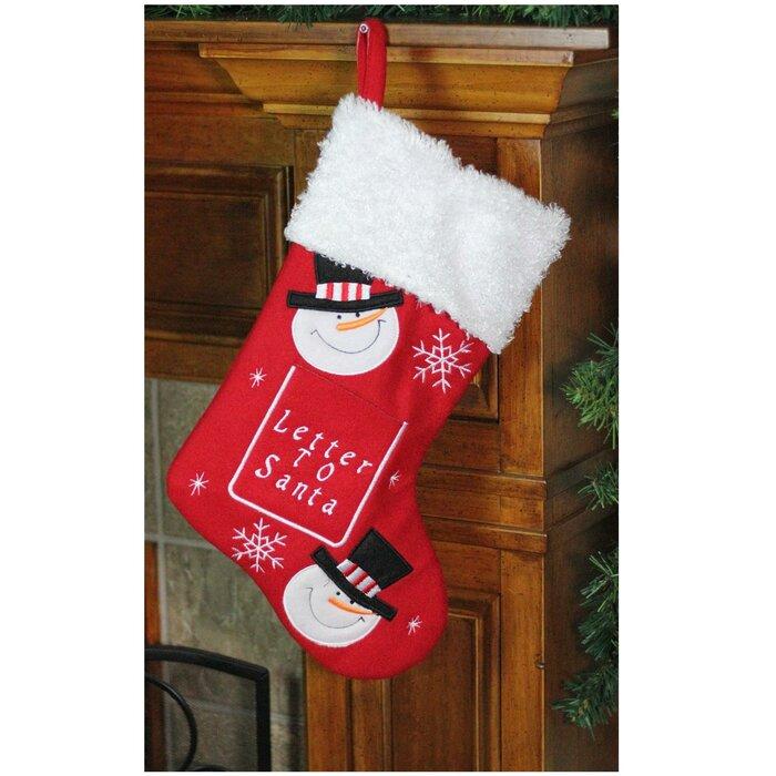 Letter Christmas Stockings.Embroidered Snowmen Letter To Santa Christmas Stocking