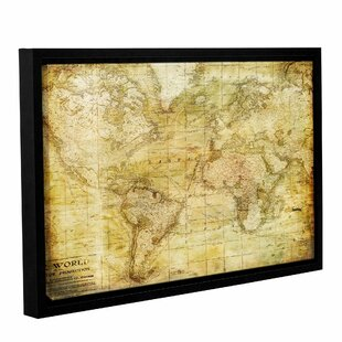 World map framed art youll love wayfair vintage map framed graphic art on wrapped canvas gumiabroncs Choice Image