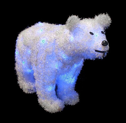 Northlight Battery Operated Lighted Tinsel Polar Bear Christmas Decoration | Wayfair