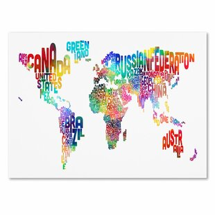 Modern world map canvas wall art allmodern world text map by michael thompsett framed textual art on wrapped canvas gumiabroncs Image collections