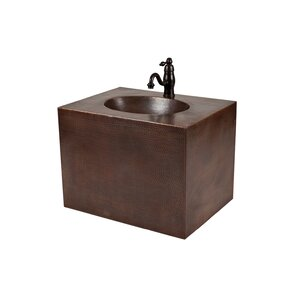 24″ Single Hand Hammered Copper Wall Mount Bathroom Vanity Set