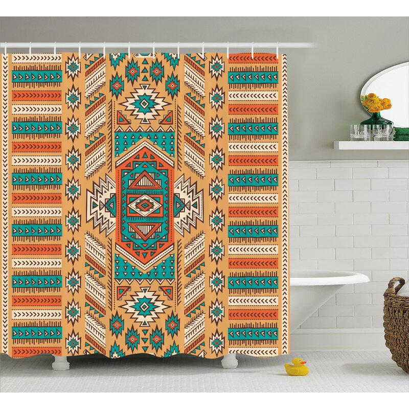 Molly Tribal Indian Aztec Secret Tribe Pattern Native American Bohemian Style Shower Curtain
