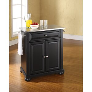 Pottstown Kitchen Cart with Stainless Steel Top