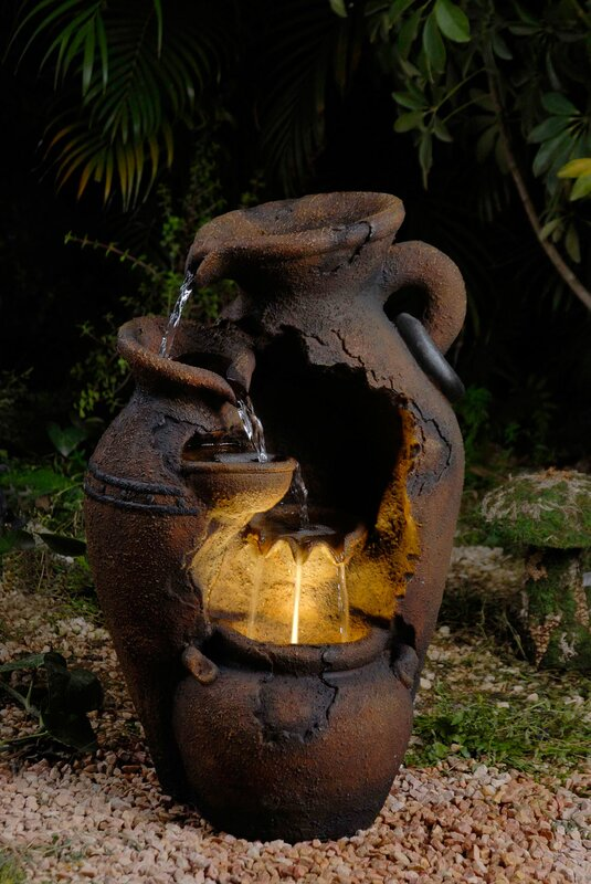 Charmant Resin/Fiberglass Old Fashion Pot Outdoor Fountain With LED Light