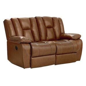 Appleton Manual Motion Leather Reclining Loveseat by Red Barrel Studio