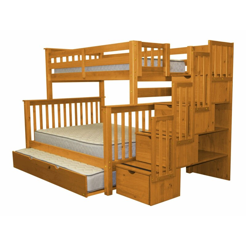 bedz king stairway twin over full bunk bed with trundle reviews wayfair. Black Bedroom Furniture Sets. Home Design Ideas