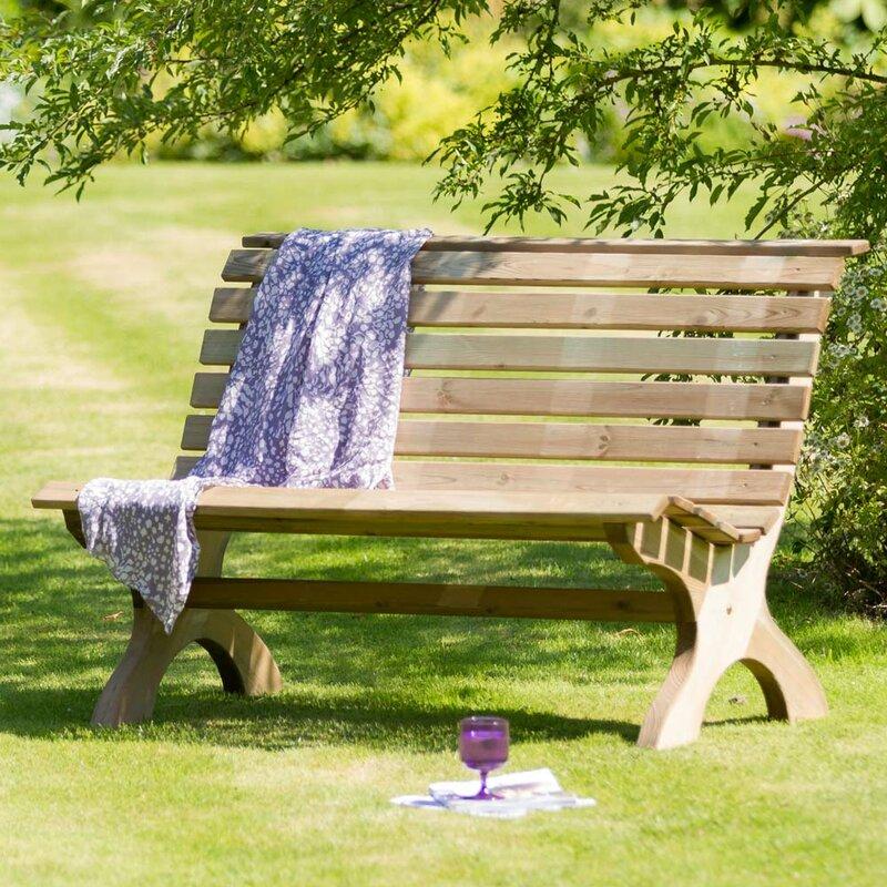 Home & Haus Gartenbank Harriet aus Massivholz & Bewertungen | Wayfair.de