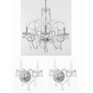 Chandelier wall sconce wayfair shepard 3 piece crystal chandelier and wall sconces lighting set aloadofball Images