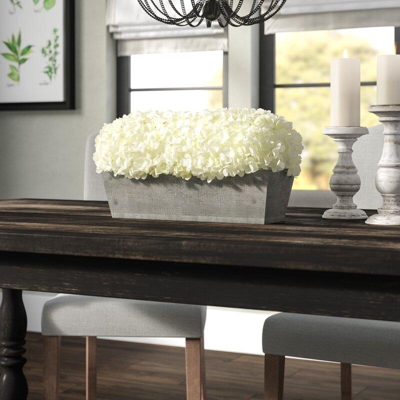 Hydrangeas Centerpiece In Planter & Reviews
