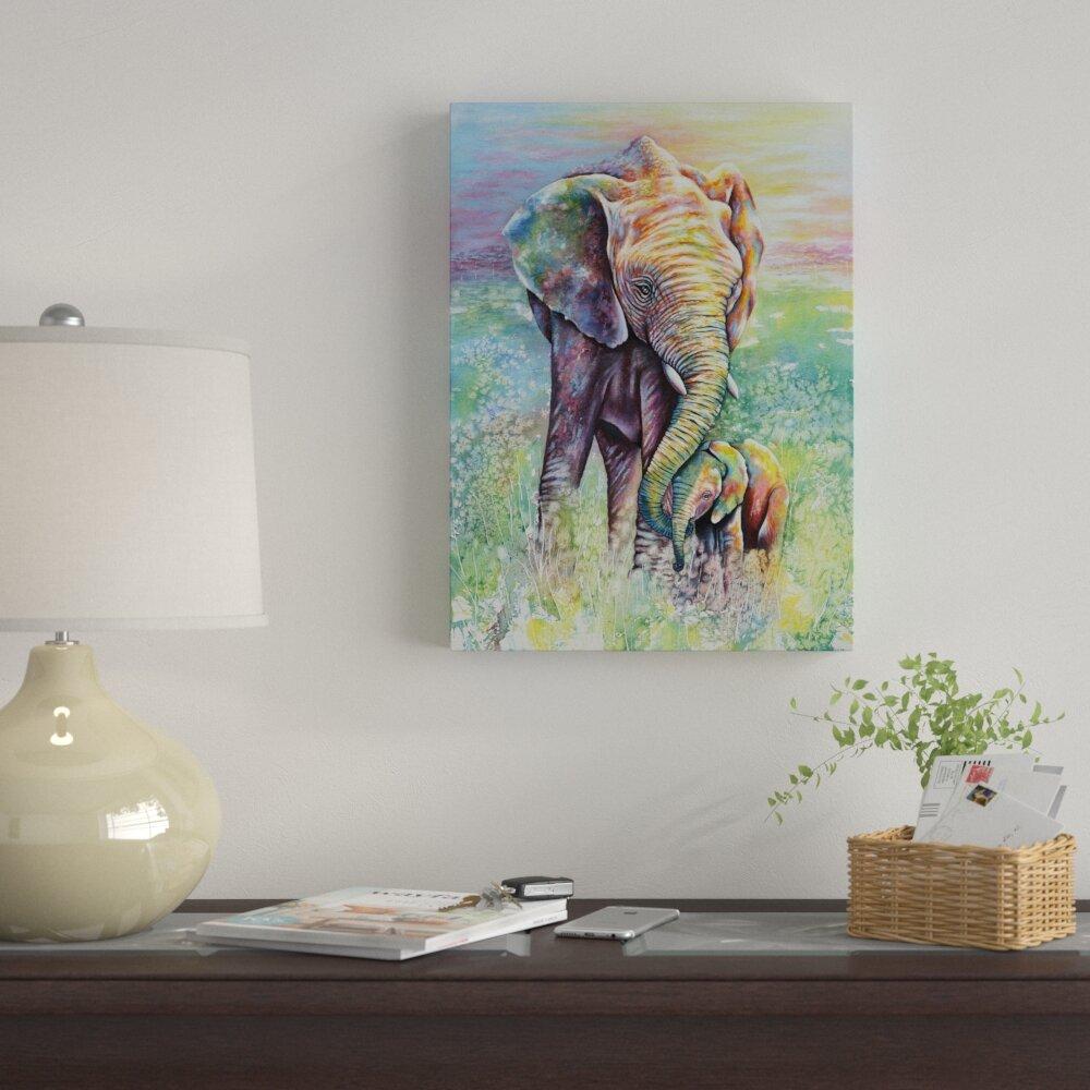 50b25970 Winston Porter 'Mother & Baby Elephant Rainbow Colors' Acrylic Painting  Print on Wrapped Canvas   Wayfair