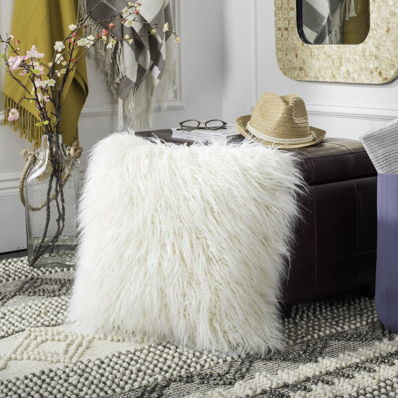 Beautiful Sandee Faux Flokati Fur Throw Pillow