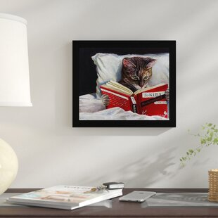 Late Night Thriller Cat Reading To Kill A Mockingbird Framed Graphic Art Print On Wood