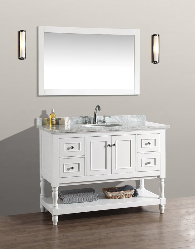 "darby home co amie 48"" single bathroom vanity set with mirror"