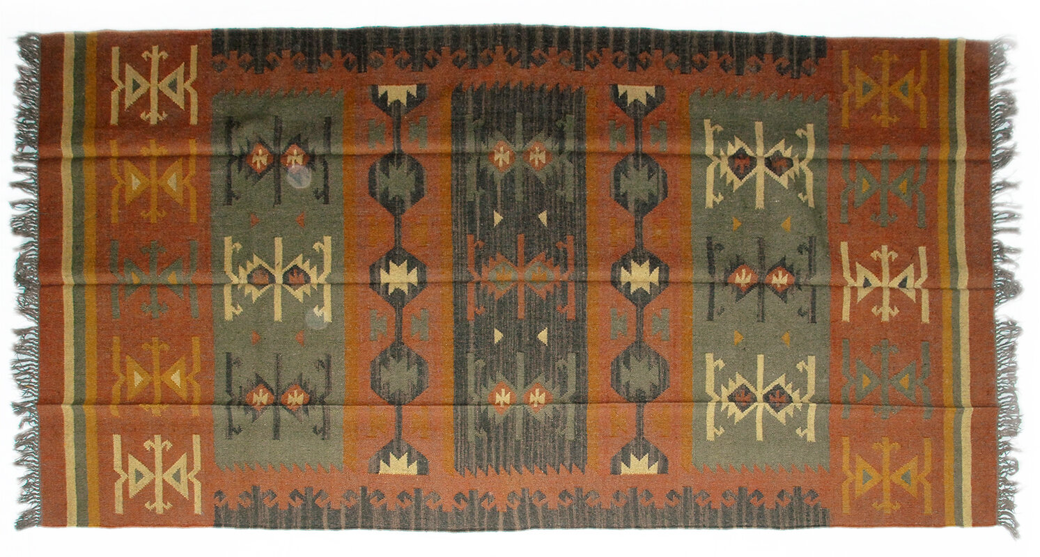 Isabelline One Of A Kind Fitzwater Handmade Kilim 6 X 9 Red Green Yellow Indoor Outdoor Area Rug Wayfair