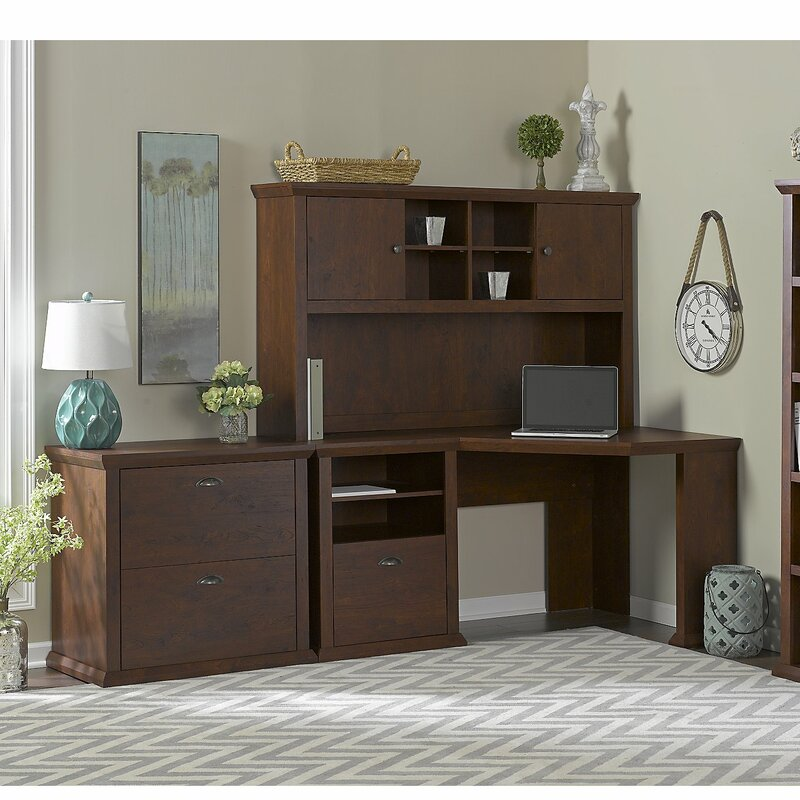 Ferrell 4 Piece L Shape Wood Desk Office Suite