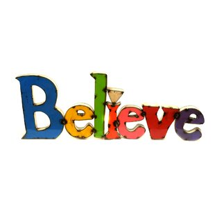 large believe sign wall dcor