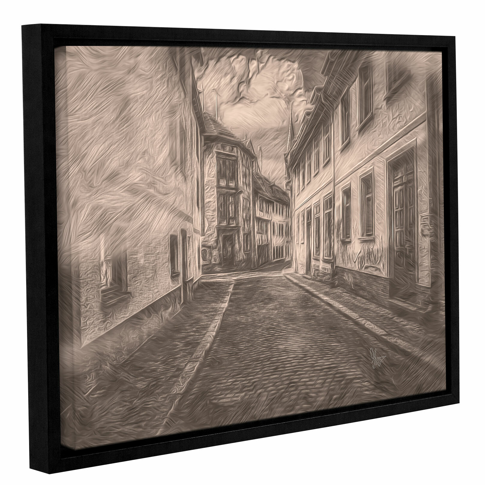 Cobblestone road framed pencil drawing print on canvas