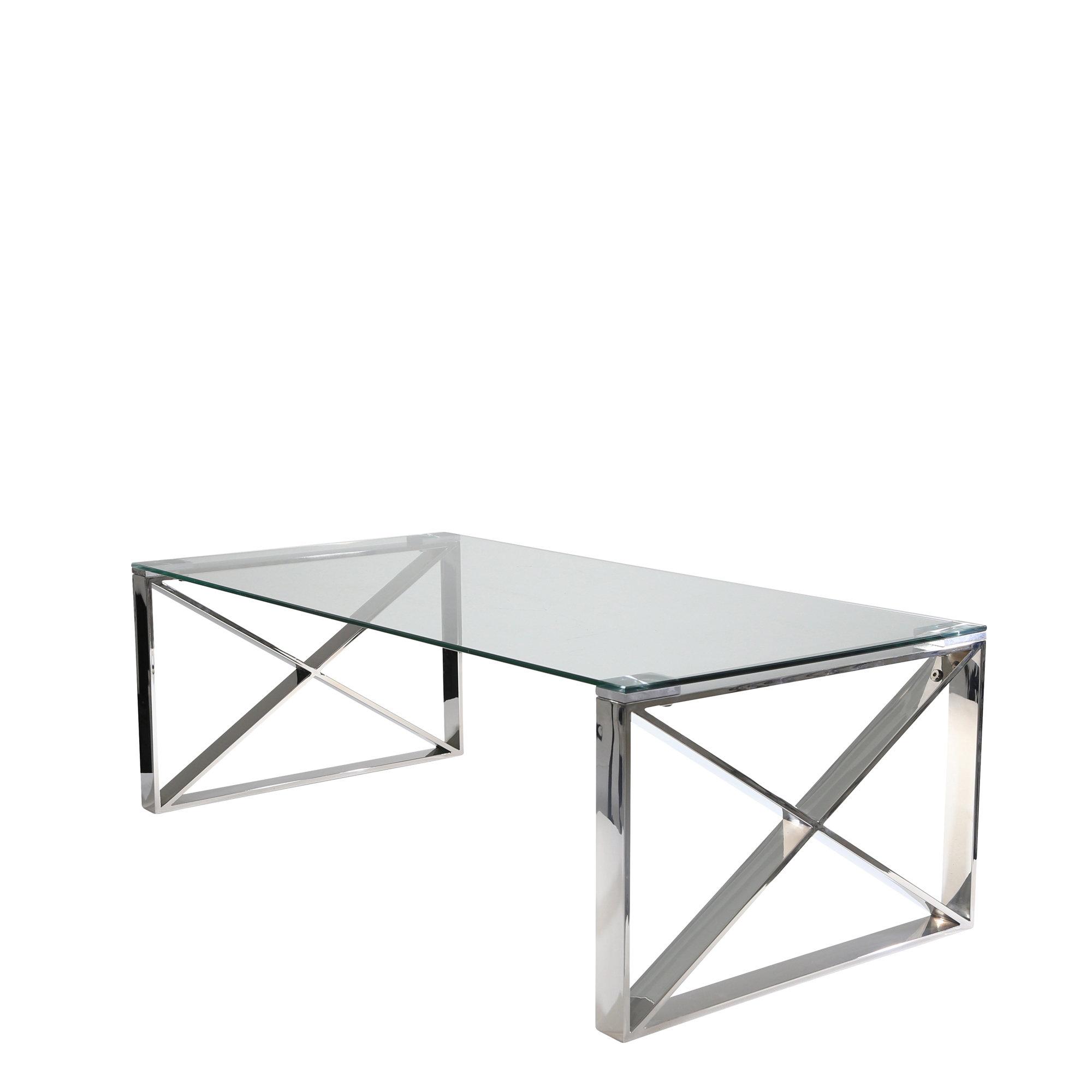 Sagebrook Home Stainless Steel And Glass Coffee Table | Wayfair