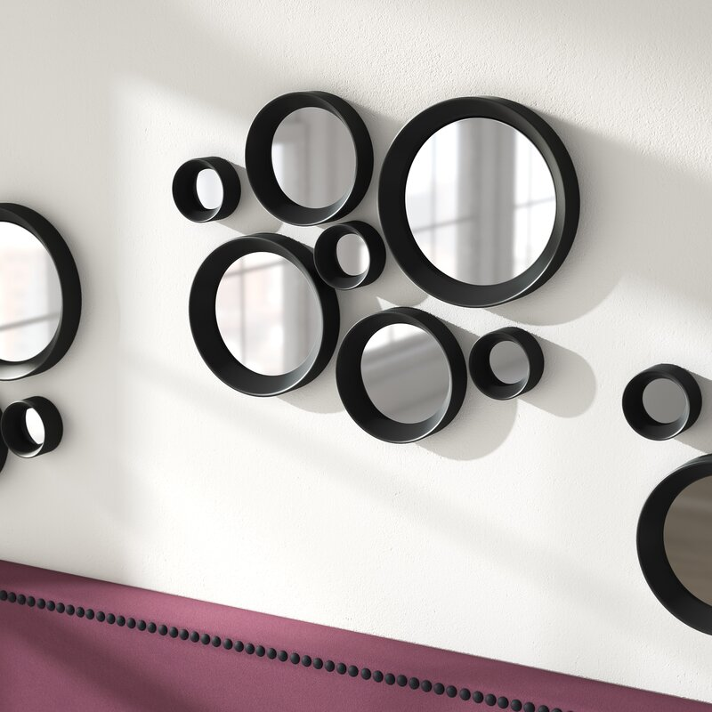 Mercury Row Krebs 7 Piece Black Frame Round Mirror Set Reviews