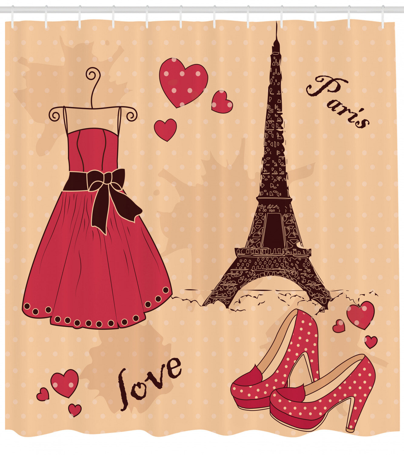 Ambesonne Heels And Dresses Shower Curtain Paris Boutique French Retro Dress Shoes Eiffel Tower Cloth Fabric Bathroom Decor Set With Hooks 70