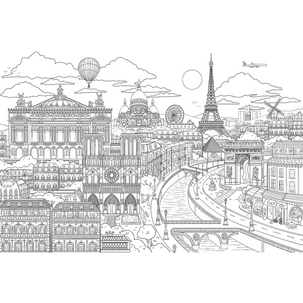 Brewster Home Fashions Visite Paris Coloring 6\' x 108\