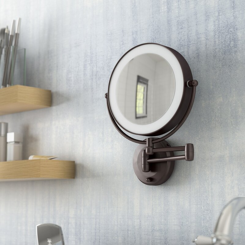 Lighted Bathroom Wall Mirror Large: Darby Home Co Aldona LED Lighted 1X/10X Magnification