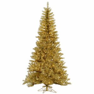 9 goldsilver tinsel artificial christmas tree with 1000 led clear dura lit - Gold Christmas Tree