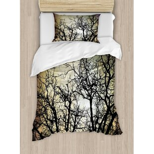 Horror Scary Twilight Scene With Grunge Tree Branch Silhouette Over Dirty Night Sky Image Duvet Set