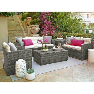 Suzanne 5 Piece Rattan Wicker Sofa Seating Group With Cushions