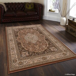 Inouye High-End Ultra Dense Floral Art Deco Brown Area Rug