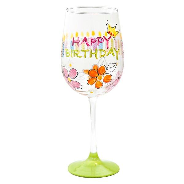 pat barker designs happy birthday wine glass wayfairca - Happy Birthday Wine Glass