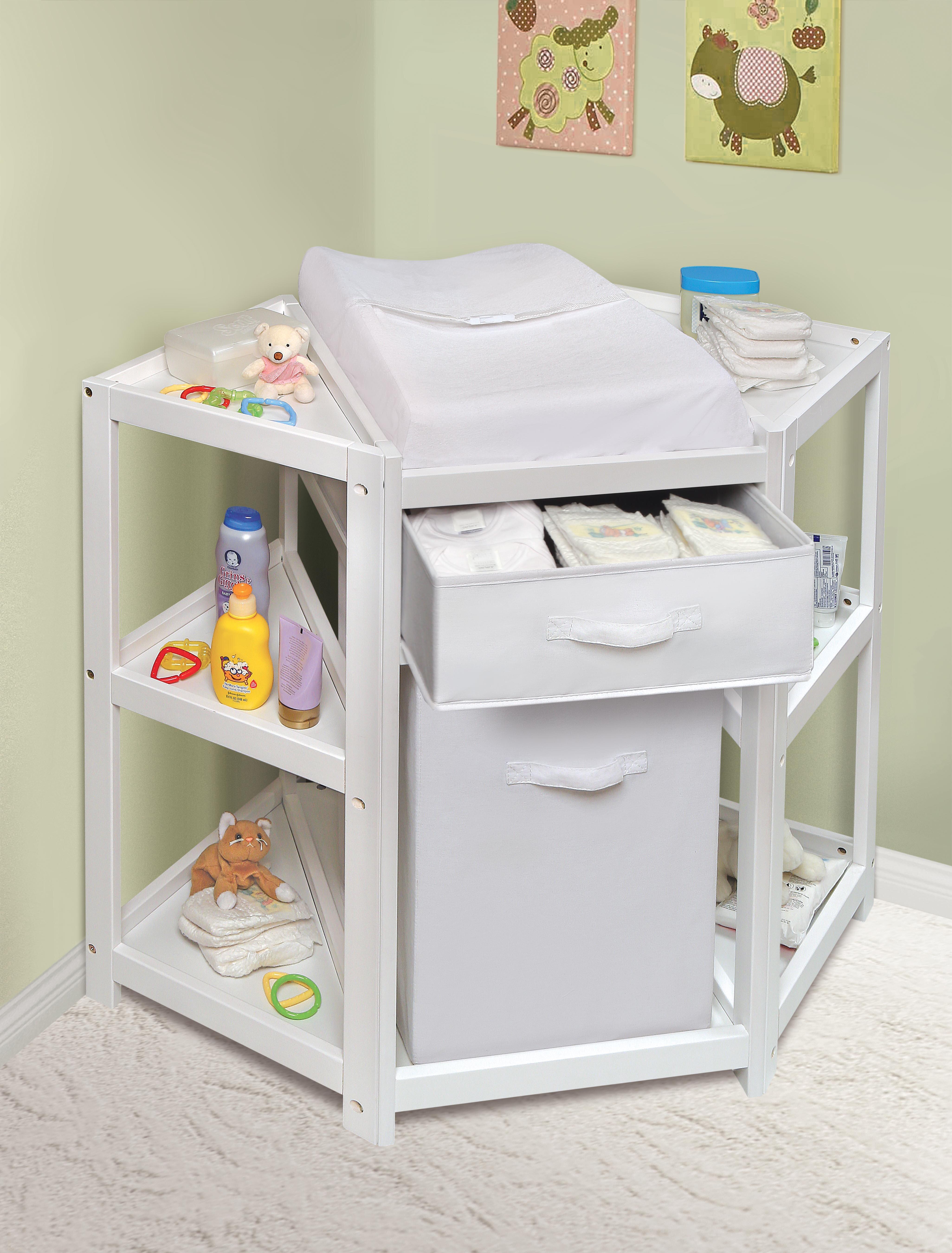 Badger Basket Diaper Corner Baby Changing Table With Pad And 1 Hamper Wayfair