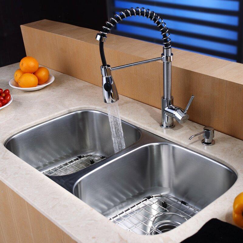 """Kitchen Sink Set: Kraus 32.25"""" X 18.5"""" Double Basin Undermount Kitchen Sink"""