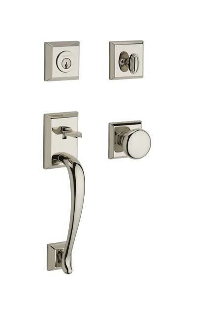 BaldwinNapa Single Cylinder Handleset With Round Door Knob And Traditional  Square Rose