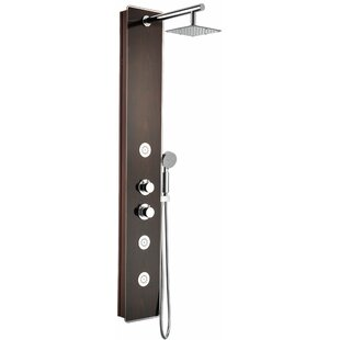 Full Body Shower Panel System With Heavy Rain And Spray Wand In Mahogany Style Deco Gl