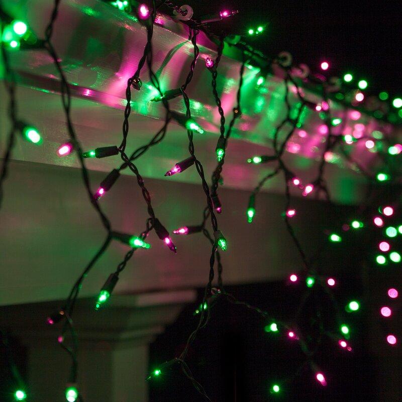 150 purplegreen mini icicle light string