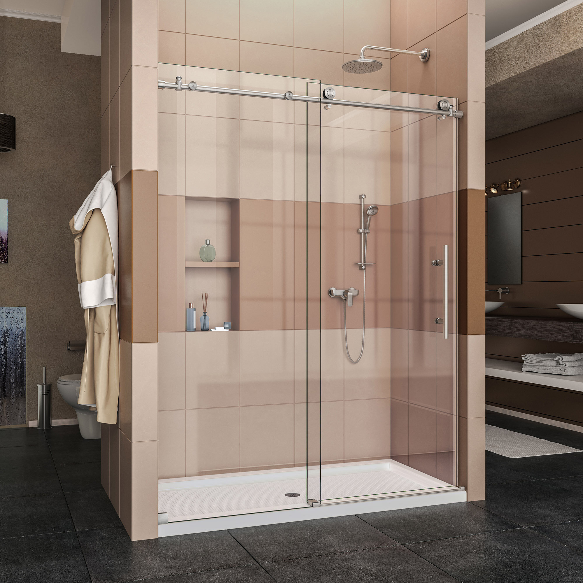 Enigma X 60 X 76 Single Sliding Frameless Shower Door With Clearmax Technology
