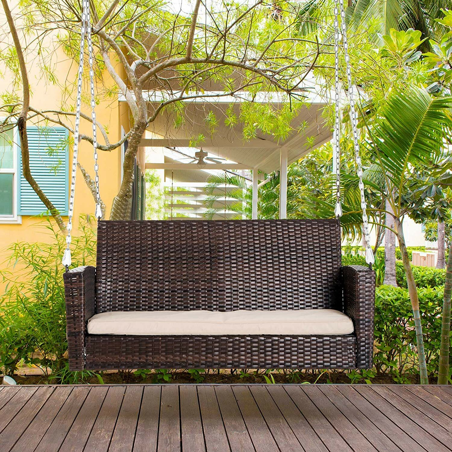 Dark Brown Outsunny 2 Person Outdoor Weather Resistant Hanging Wicker Porch Swing Chair With Cushion Patio