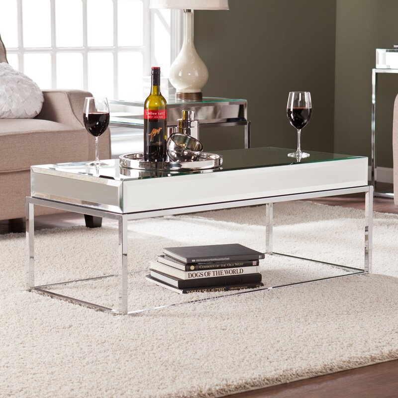 mirror living room furniture. Kyla Mirrored Coffee Table Tables You ll Love