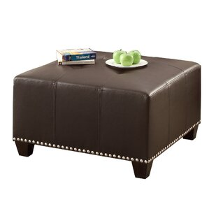 Bobkona Cady Leather Ottoman by Poundex
