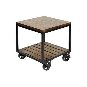 Jamila 2 Tier Industrial Trolley Wheel End Table